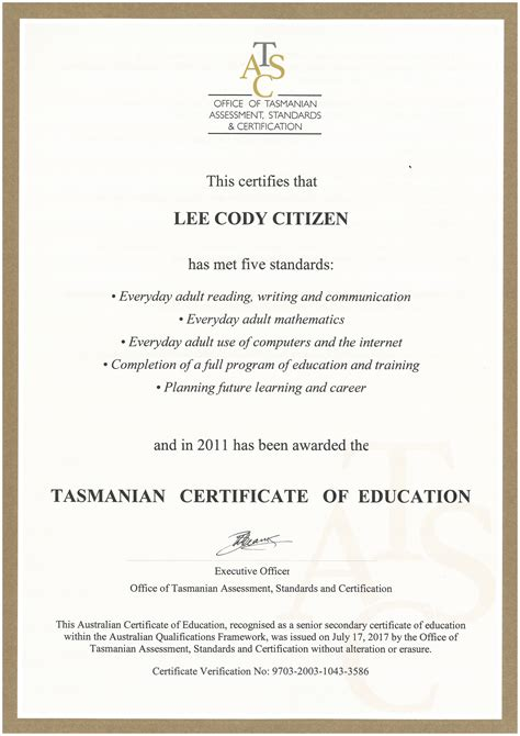 tasmanian certificate  education tce tasc