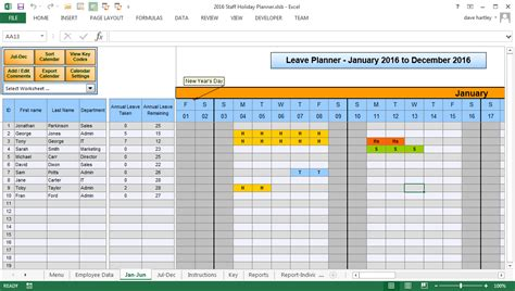 staff holiday planner template  excel printable