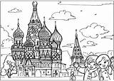 Coloring Temple Russian sketch template