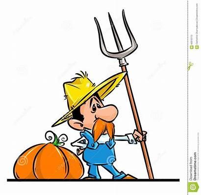 Farmer Harvest Cartoon Autumn Pumpkin Funny Character