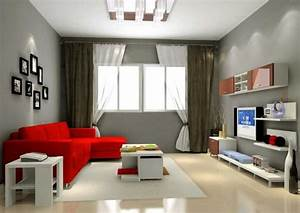 Cool Gray Living Room Color Ideas With Red Modern Sofa