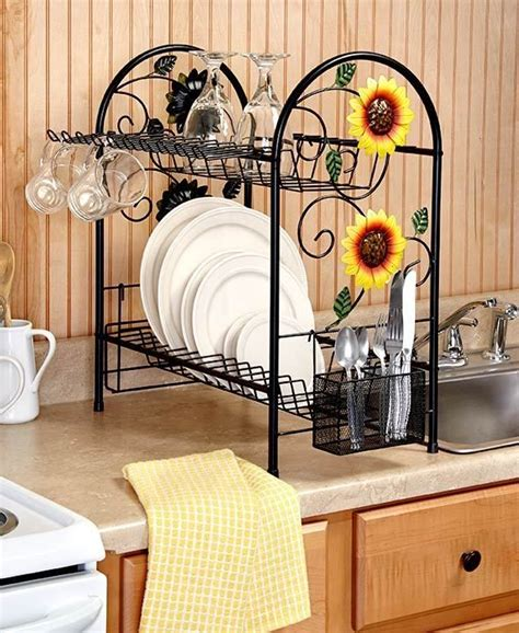 country sunflower kitchen decor dish rack 2 tier metal sunflower rooster apple country 6234