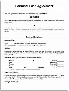 Free printable personal loan agreement form generic for Legal loan document template