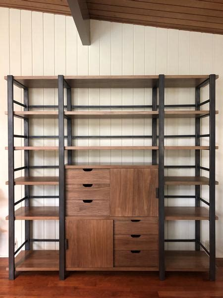 mid century modern industrial design bookcase mortise