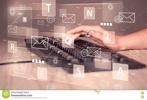 Hand Typing On Keyboard With Digital Tech Icons Stock