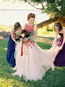 chagne color wedding dress bold colors and a floral wedding dress for fall
