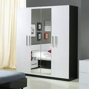 Armoire Noir Et Blanc : armoire 4 portes gloria noir et blanc blanc noir ~ Preciouscoupons.com Idées de Décoration
