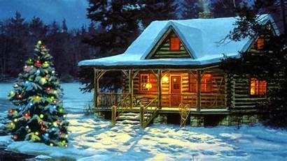 Christmas Country Cabin Scenes Mountain Smoky Winter