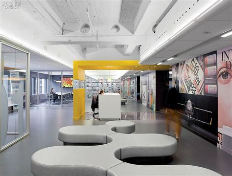 office reception interiors a strong statement at sandow s new york headquarters Modern