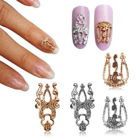 pcs  glitter alloy hollow  nail art sticker slices