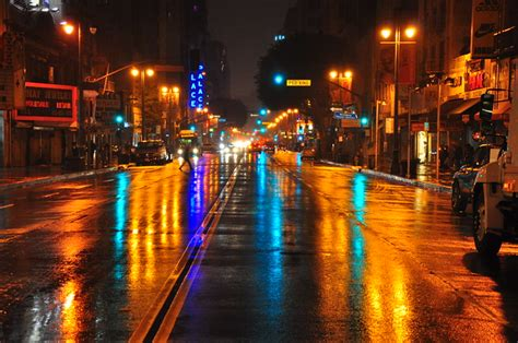 wet night  downtown los angeles flickr photo sharing