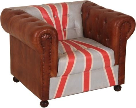 Chesterfield Luxury Real Leather Armchair Union Jack