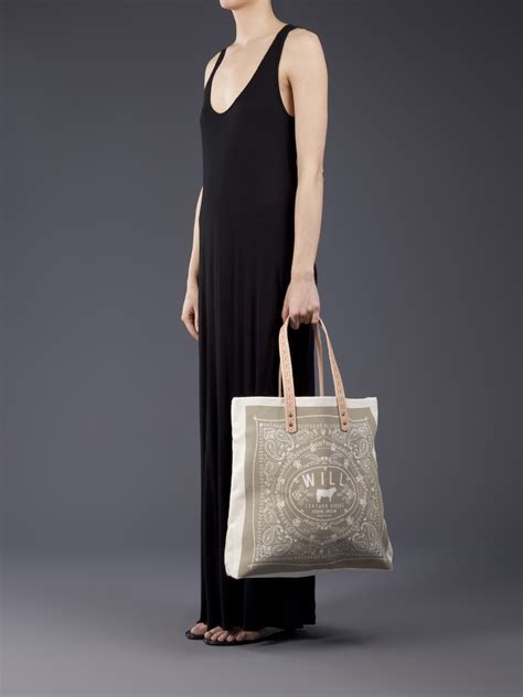 leather goods bandana carry  canvas tote bag  brown lyst
