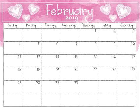 watercolor february  calendar printable calendar