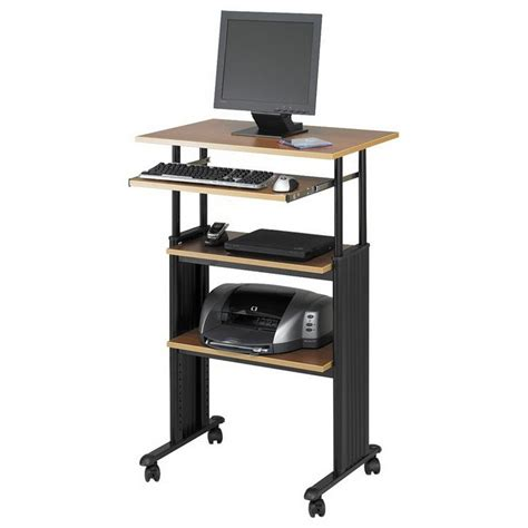 Tall Narrow Computer Desk With Shelves Standing Adjustable