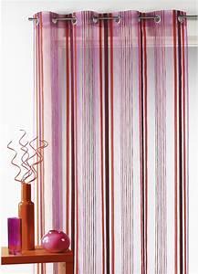 Kit Rayure Vitrage : voilage organza tiss rayures verticales fuchsia achat ~ Premium-room.com Idées de Décoration