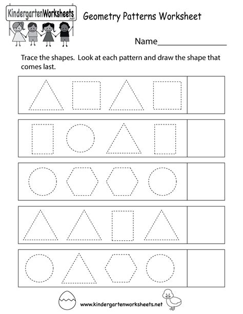 geometry patterns worksheet free kindergarten math worksheet for kids
