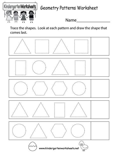 Geometry Patterns Worksheet  Free Kindergarten Math Worksheet For Kids