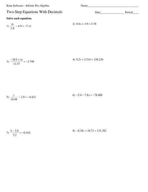 two step division equations worksheets solving one step equations involving