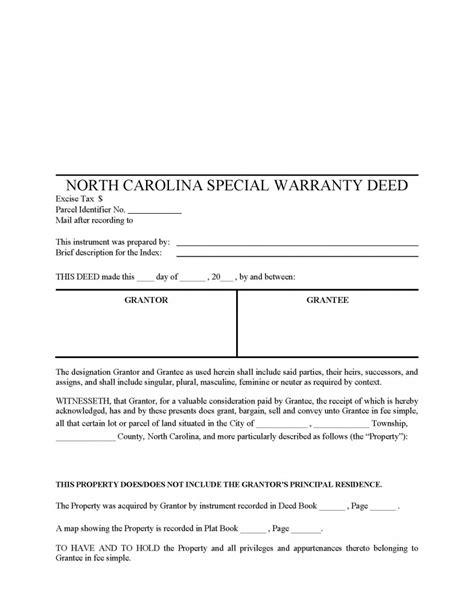 north carolina special warranty deed form deed forms