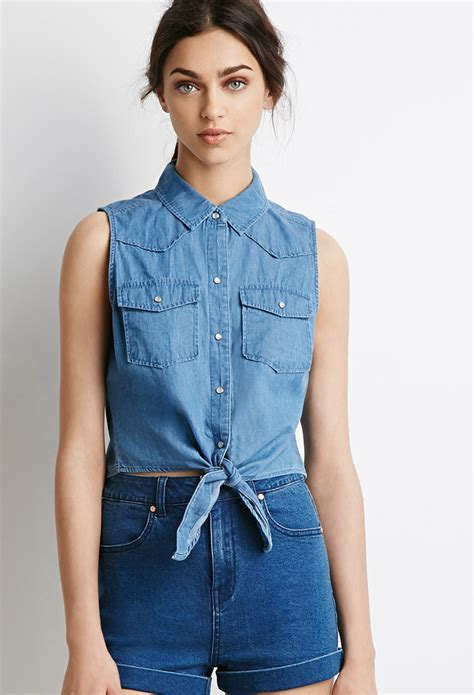 Forever 21 Knotted Denim Shirt in Blue   Lyst