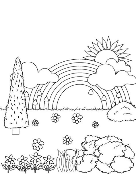 rainbow   garden coloring pages rainbow coloring