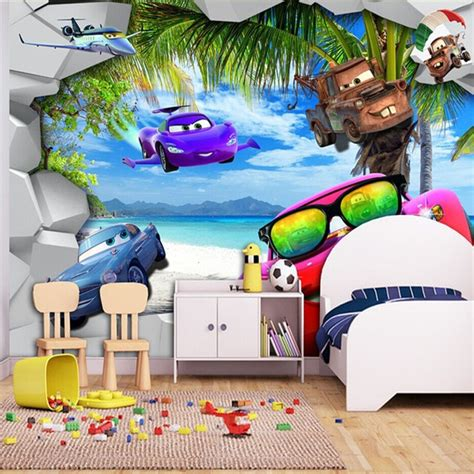 cartoon wallpaper  cars wall mural beach photo wallpaper