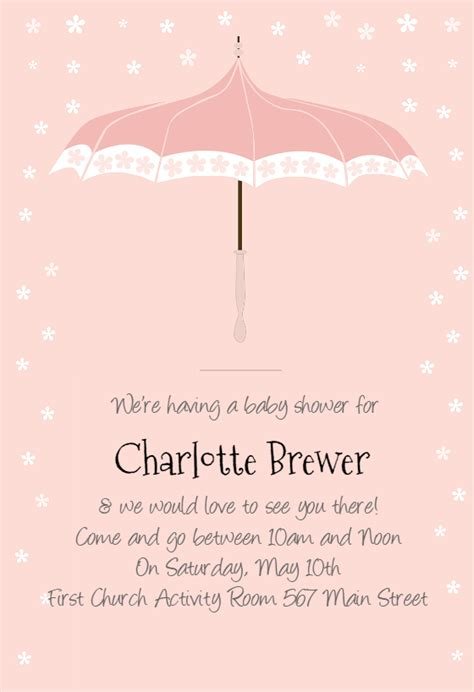 floral umbrella baby shower invitation template