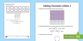 decimals addition worksheet worksheet decimals
