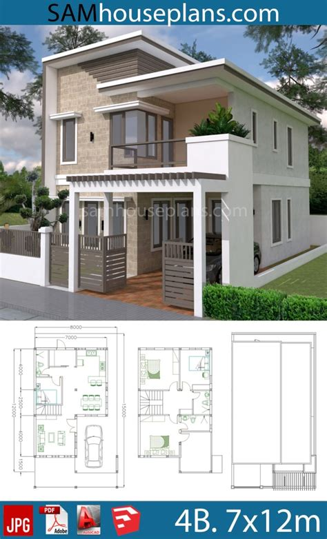 House Plans 7x12m with 4 Bedrooms Plot 8x15 Sam House Plans
