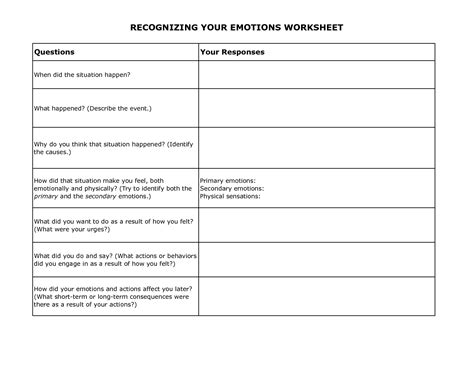 Recognizing Your Emotions Worksheet  Therapy  Worksheets, Dbt, Coping Skills Activities