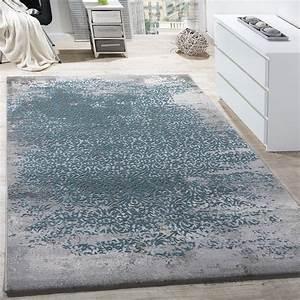 designer teppich modern wohnzimmerteppich mit muster With balkon teppich mit tapete grau blau