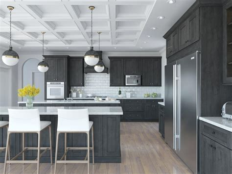Light Grey Kitchen Cabinets with Dark Countertops Flooring