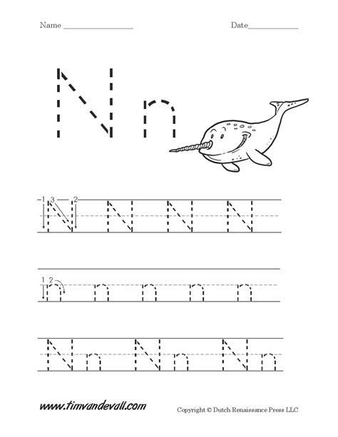 letter n worksheet tim s printables