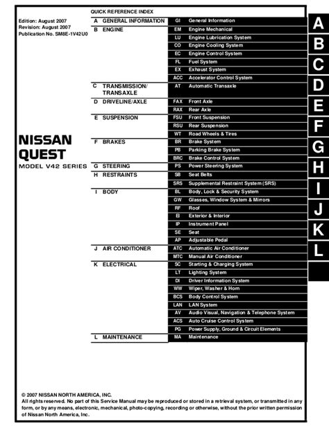 service and repair manuals 2008 nissan quest lane departure warning 2008 nissan quest service repair manual