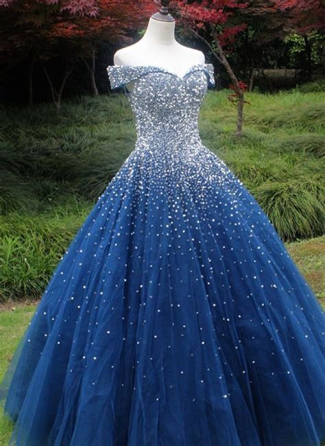 Sparkle Off the Shoulder Navy Blue Ball Gown   Blue ball ...