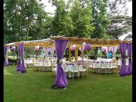 linens  decor kenya party pergola purple wedding setup