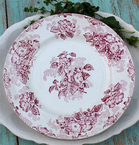 antique french red transferware floral plates set reds