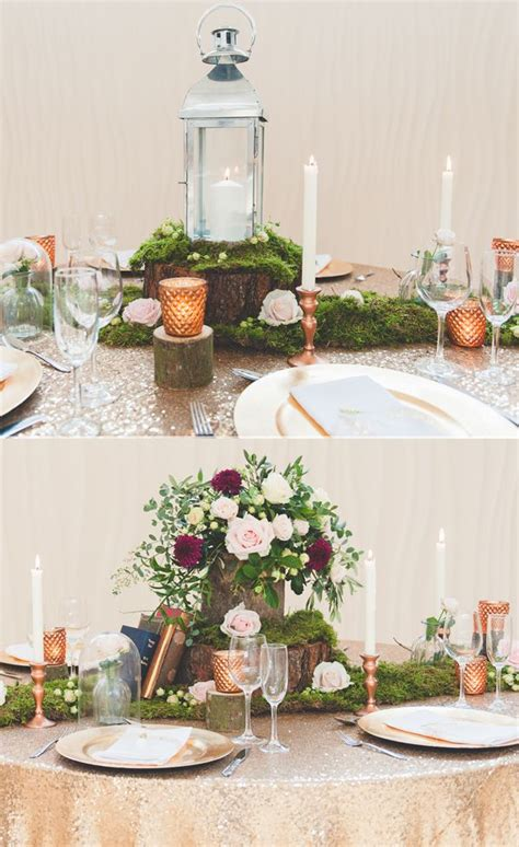 How To Style A Rustic Glamour Wedding Table With Moss And