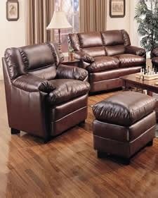 brown overstuffed leather chair with ottoman nc
