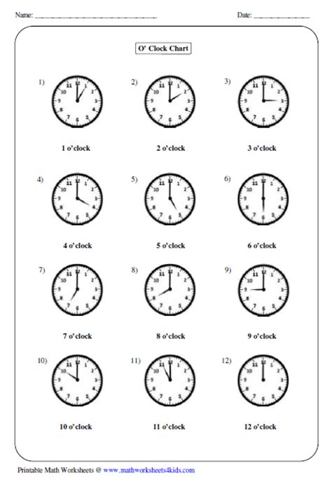 O Clock Worksheets For Kindergarten O Best Free Printable Worksheets