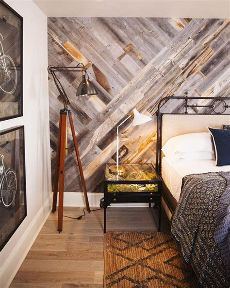 reclaimed weathered wood paneling bedrooms