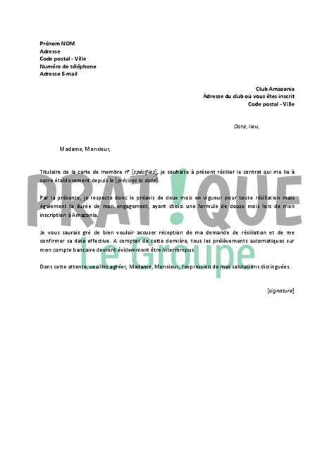 courrier resiliation salle de sport 28 images modele lettre resiliation neoness document