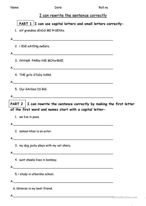 favorite worksheet on capitalization and punctuation