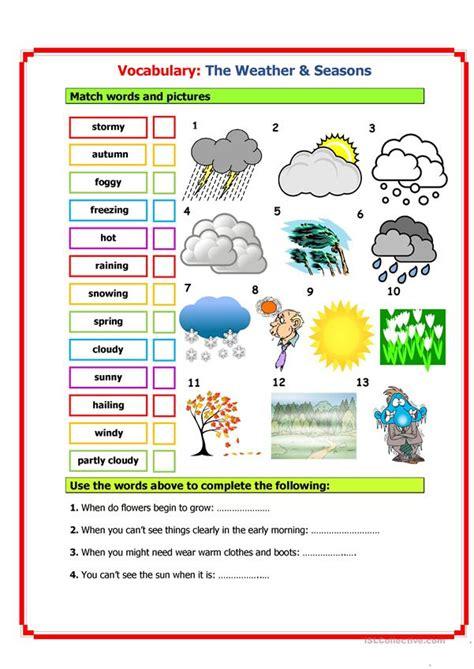 vocabulary weather seasons worksheet  esl