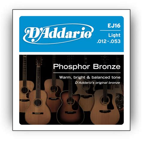 d addario ej16 phosphor bronze light 12 53 guitar strings