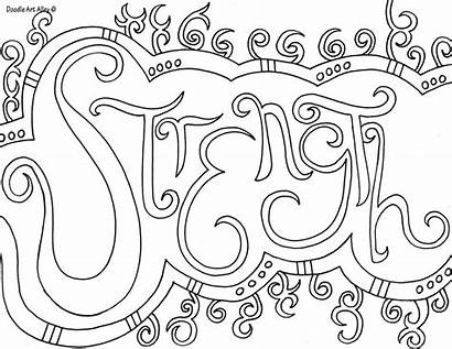 Coloring Strength Doodle Word Alley Classroom Quote
