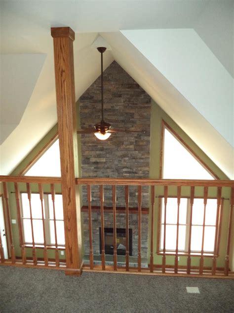 slate run open  floor loft   story living room  optional stone fireplace