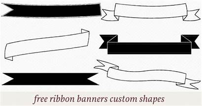 Banner Photoshop Shapes Ribbon Clipart Banners Custom
