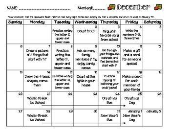 pre k tk k transitional kindergarten 2018 2019 monthly homework calendars